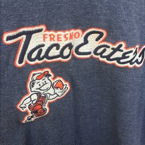 Red jacket brand Fresno taco eaters t shirt